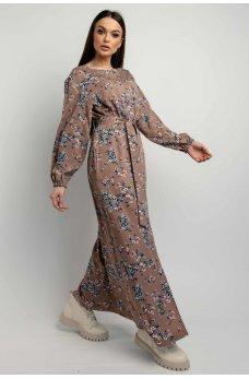 Очаровательное цветочное платье макси цвета капучино