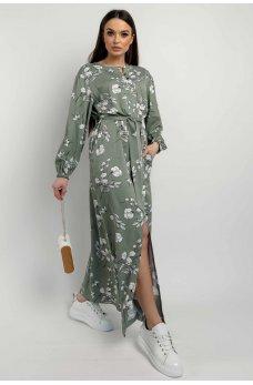 Оливковое утонченное длинное платье с карманами