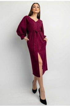 Роскошное платье миди цвета марсала