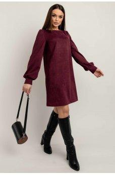 Гламурное однотонное платье цвета марсала