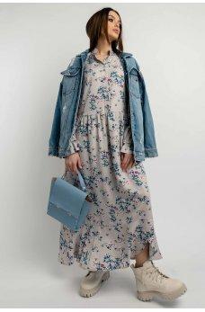 Серо-бежевое цветочное платье миди