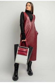 Бордовый кожаный сарафан миди