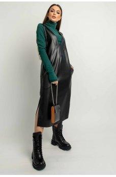 Черный гламурный женский кожаный сарафан