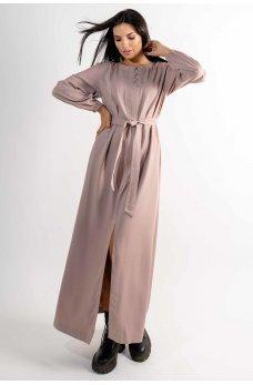 Бежевое молодежное длинное платье из штапеля