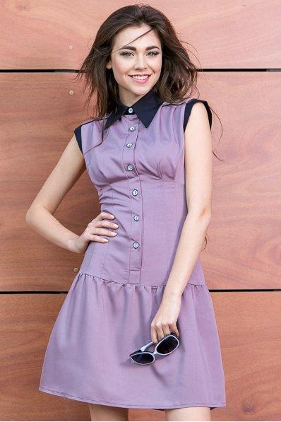 Платье-сарафан серо-сиреневое
