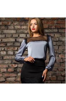 Серая блузка из шелка