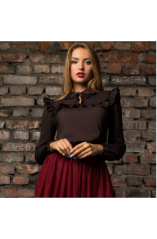 Шифоновая блузка коричневого цвета