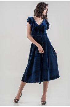 Шикарное бархатное темно-синее платье