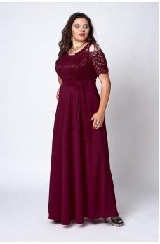 Шикарное бордовое платье в пол