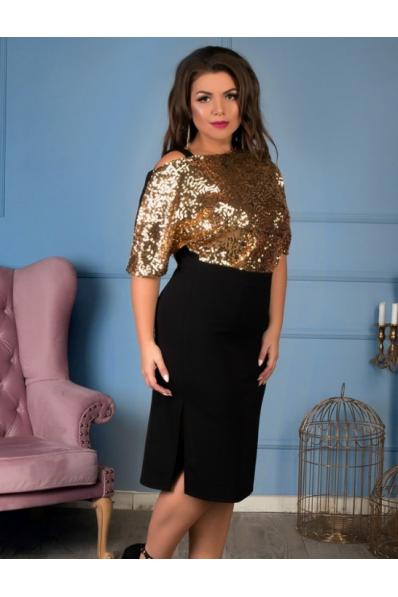 Шикарное нарядное платье с золотыми паетками