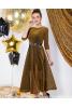 Шикарное нарядное платье в золотом цвете - фото 1