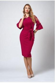 Шикарное платье ягодного цвета с кружевом