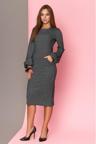 Шикарное шерстяное платье в клетку с широким рукавом на манжете.