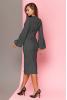 Шикарное шерстяное платье в клетку с широким рукавом на манжете. - фото 1