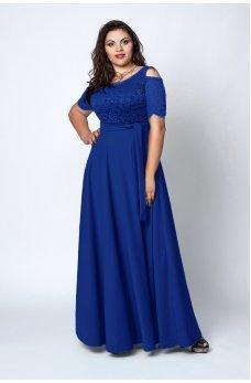 Шикарное синее платье в пол