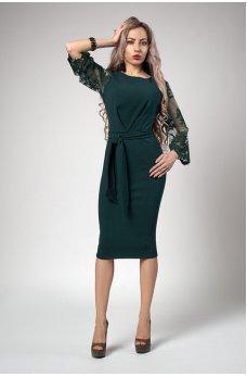 Шикарное зеленое платье с кружевом