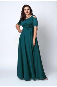 Шикарное зеленое платье в пол