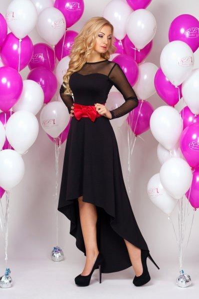 Шикарное черное вечернее платье с бантом