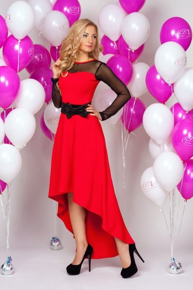 Шикарное красное вечернее платье с бантом