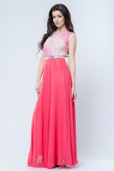 Шикарное вечернее платье с открытой спинкой коралл