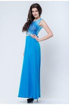 Шикарное вечернее платье с открытой спинкой голубое