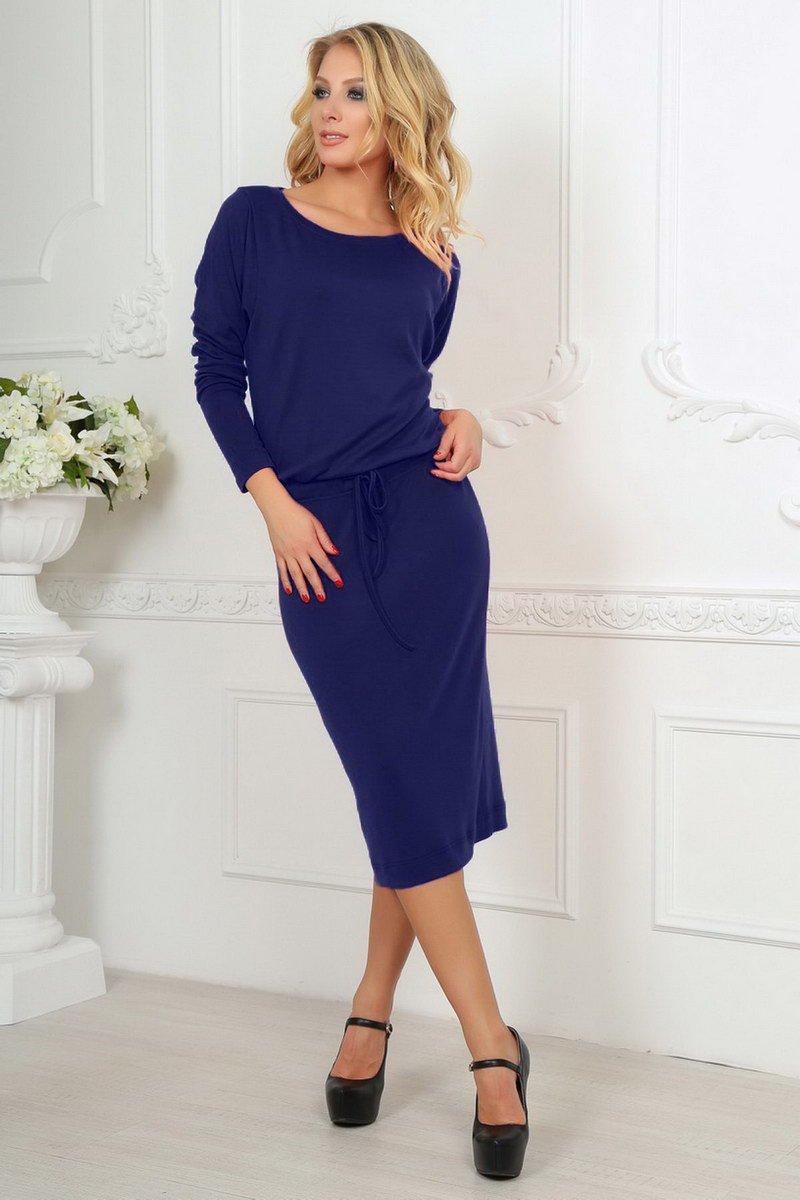 f5174e5dcbc Синее платье миди с кулиской