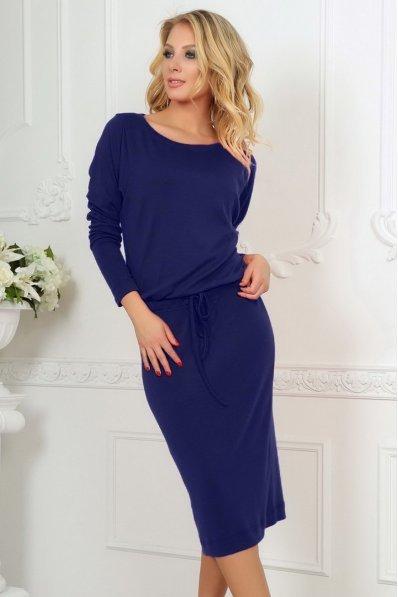 Синее платье миди с кулиской