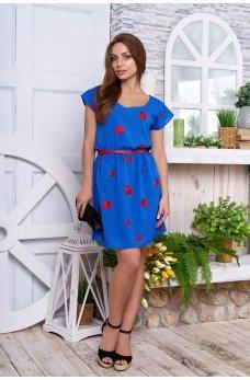 Синее платье с романтичными сердечками