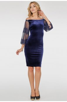 Синее коктейльное платье из бархата с открытыми плечиками