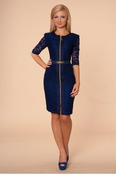 Темно-синее платье из гипюра
