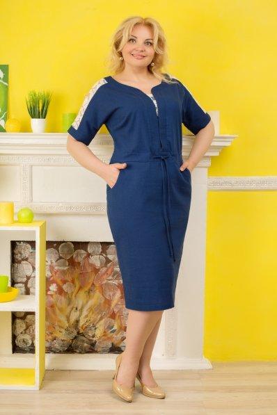 Синее платье лен с белым гипюром