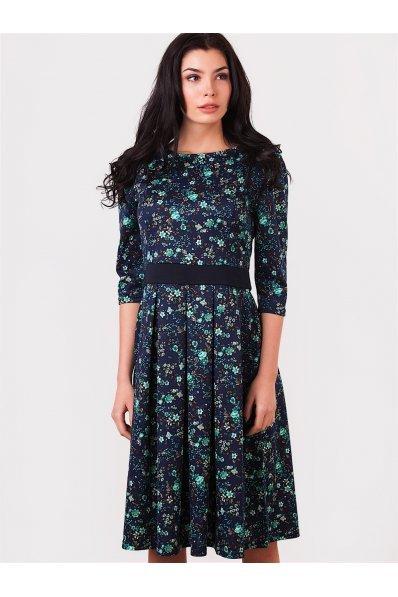Синее платье миди бирюзовые цветы