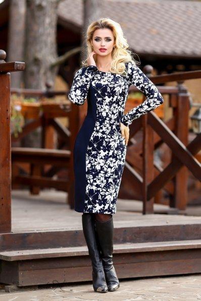 Темно-синее платье с белым принтом