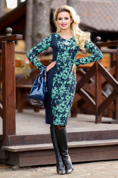 Темно-синее платье с бирюзовым принтом