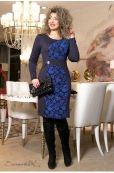 Синее платье с восточным принтом цвета электрик