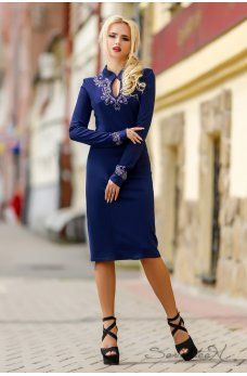 Темно-синя сукня з візерунком