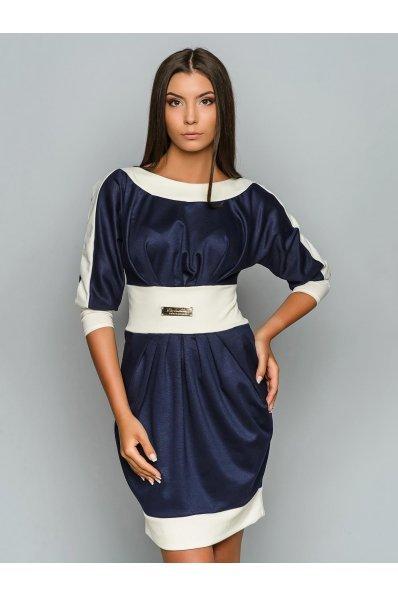 Синее платье тюльпан с белой отделкой