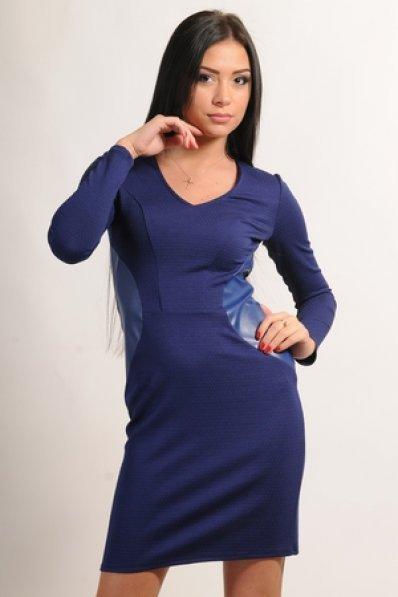 Синее платье с кожаными вставками