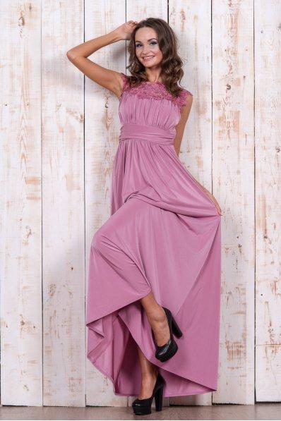 Сиреневое вечернее платье с кружевом