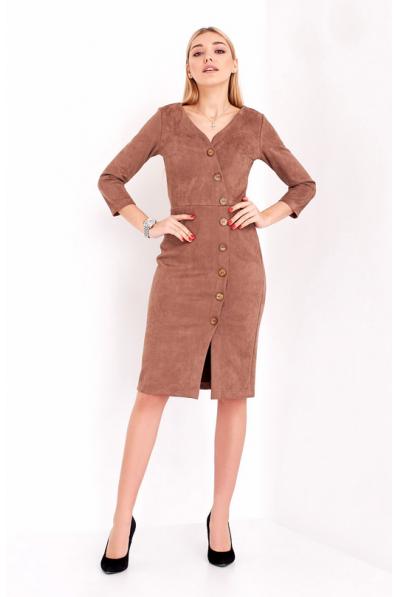 Стильное замшевое платье оттенка капучино