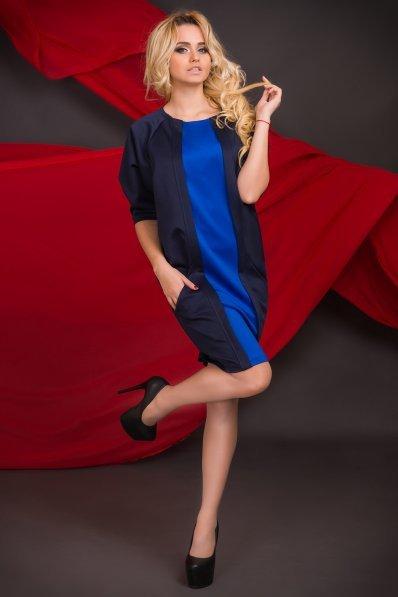 Свободное темно-синее платье с вставкой электрик