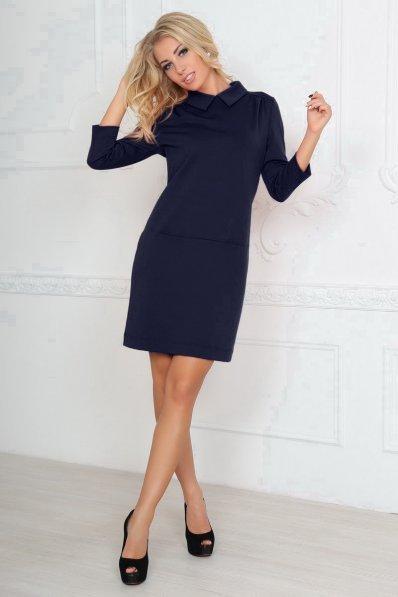 Свободное темно-синее платье футляр