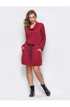 Свободное вишневое платье из ангоры