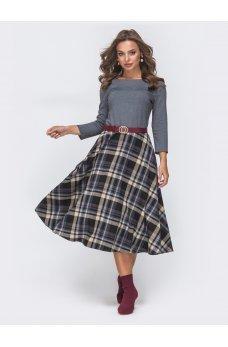 Комбинированное серое платье с клетчатой юбкой