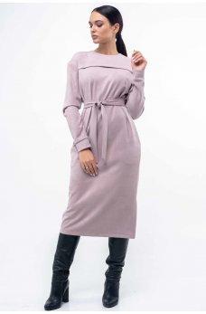 Замшевое платье прямого силуэта пудровое