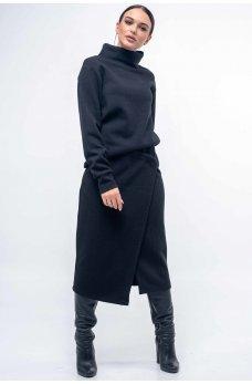 Повседневный теплый трикотажный костюм черного цвета