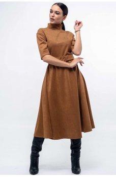 Замшевое платье с пышной юбкой карамельного цвета