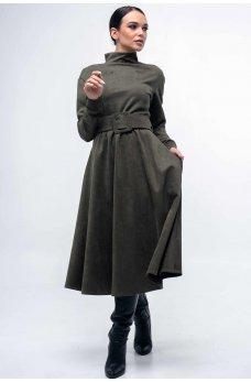 Замшевое платье с пышной юбкой цвета хаки