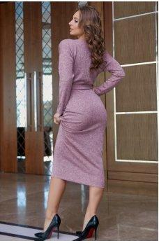 Нежное и элегантное пудровое платье миди