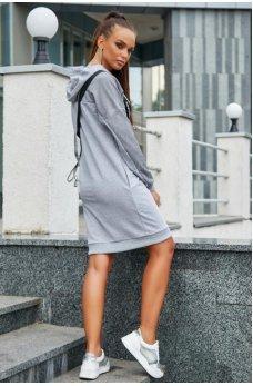 Светло-серое спортивное платье с капюшоном